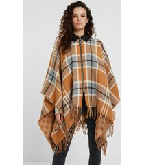 collar and zipper plaid poncho - brown - u
