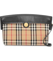 burberry society vintage-check clutch bag - neutro