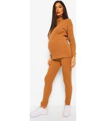 zwangerschaps gebreide geribbelde trui en legging set, camel