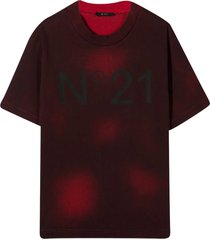 n.21 t-shirt with tie dye pattern nº21 kids.