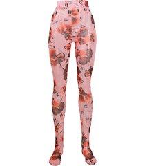 henrik vibskov waltz-print high-rise tights - pink
