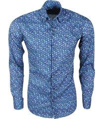 ferlucci heren overhemd met mini uilen design calabria stretch - blauw