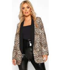 plus contrast lapel leopard print blazer, brown