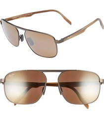 men's maui jim waihe'e ridge 60mm polarized sunglasses - brushed chocolate/ bronze