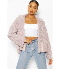 oversized faux teddy fur aviator jacket, lilac