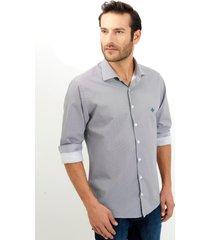 camisa dudalina manga longa tricoline fio tinto estampa geométrica masculina (branco 2, 7)