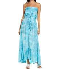 tiare hawaii ryden strapless tie waist dress in smoky dot tosca at nordstrom