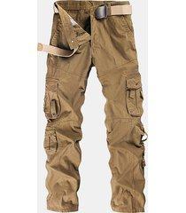 uomo pantaloni cargo con multi-tasche regular fit in colore a tinta unita trousers primaverili estivi