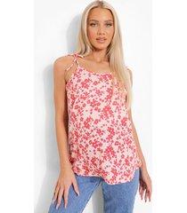 zwangerschap bloemen borstvoeding hemdje met schouder strikjes, pink