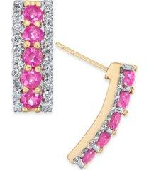 certified ruby (1 ct. t.w.) & diamond (3/8 ct. t.w.) curved bar drop earrings in 14k gold
