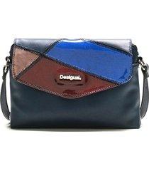 bolsa tiracolo desigual color block azul-marinho - azul - feminino - dafiti