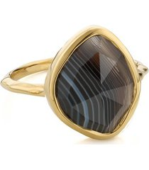 gold siren nugget stacking ring black line onyx