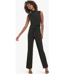 tommy hilfiger women's essential button shoulder jumpsuit black - 14
