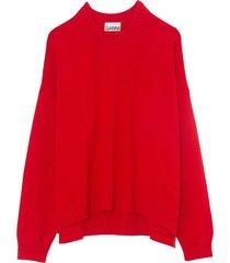 cotton knit crewneck sweater in lollipop