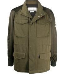 alexander mcqueen hooded logo patch military jacket - green