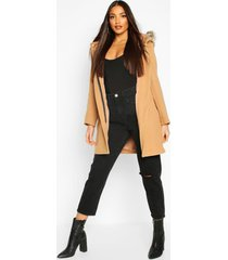 faux fur trim hooded wool look coat, camel