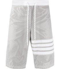 thom browne mesh track shorts - grey