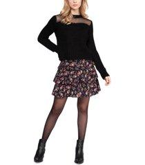 black tape mesh-contrast sweater