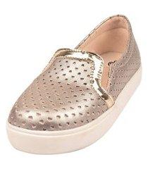 sapatilha sapatênis raniel calçados slip furado coração elástico dourado