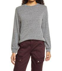 women's bobeau drop shoulder sweatshirt, size large - grey