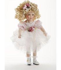 "16"" curly hair blonde porcelain pink tutu dress doll roxanne, delton 7260-6. 3+"