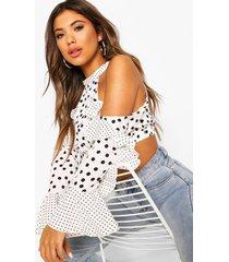 cold shoulder polka dot flare sleeve top, white