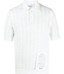 ballantyne raw diamond lace-stitch polo shirt - white