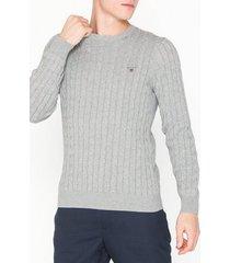 gant cotton cable crew tröjor light grey melange