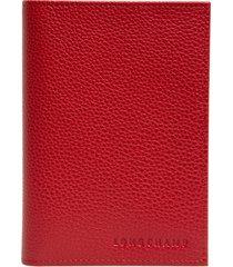 women's longchamp calfskin leather passport case - red