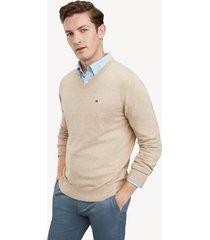 tommy hilfiger men's essential v-neck sweater semolina heather - xxxl