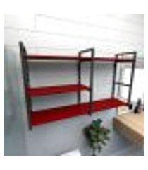 prateleira industrial para banheiro aço preto prateleiras 30cm vermelho escuro modelo ind14vrb