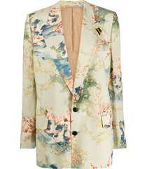 a.f.vandevorst embroidered single-breasted blazer - green