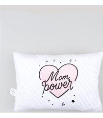 """almofada retangular listrada """"mom power"""" branca"""