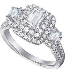 diamond emerald-cut three stone halo engagement ring (1-1/2 ct. t.w.) in 14k gold