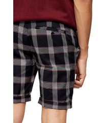 men's topman check print skinny fit shorts