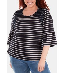 ny collection plus size crochet-trimmed striped bell-sleeve top
