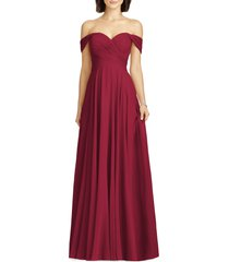women's dessy collection lux off the shoulder chiffon gown, size 22 - burgundy