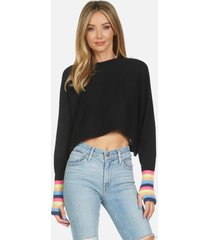 milford le crop sweater - black/multi l