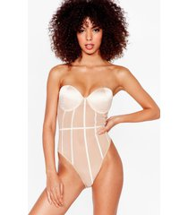 womens mesh work it out satin high-leg bodysuit - champagne