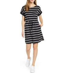 tommy bahama sombra stripe tie waist dress, size x-small in black at nordstrom