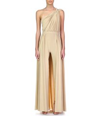 women's halston evening ira one shoulder walkthrough shimmer knit jumpsuit, size 14 - metallic