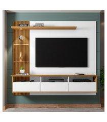 painel trend para tv até 60 pol móveis bechara 3 portas branco/cinamomo