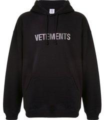 vetements crystal logo hoodie - black