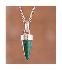 chrysocolla pendant necklace, 'natural cone' (peru)