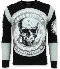 polo shirt lange mouw enos rhinestone trui - skull dollar sweater -
