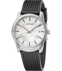 calvin klein evidence silicone band watch, 42mm in black/silver at nordstrom