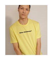 camiseta de algodão manga curta gola careca baw clothing amarela