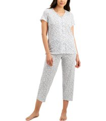 charter club printed cotton capri pajama set, created for macy's