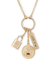"rachel rachel roy gold-tone crystal love multi-charm pendant necklace, 26"" + 2"" extender"