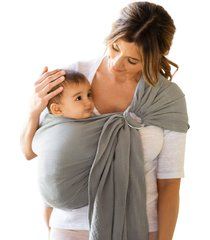 infant moby ring sling double gauze baby carrier, size one size - grey